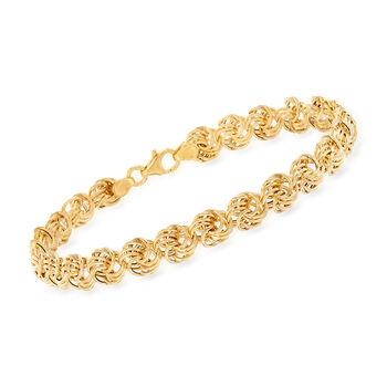 Italian 14kt Yellow Gold Medium Rosette Link Bracelet, , default
