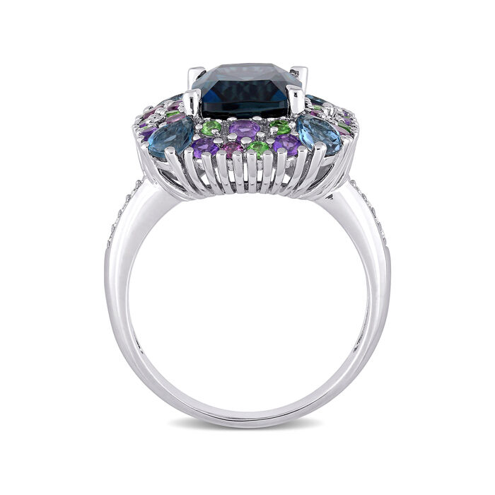 5.32 ct. t.w. Multi-Gemstone Ring with Diamond Accents in Sterling Silver
