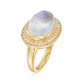 Mazza 16x12mm Moonstone and .31 ct. t.w. Diamond Ring in 14kt Yellow Gold, , default