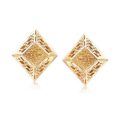 Italian 14kt Yellow Gold Filigree-Edged Earrings, , default