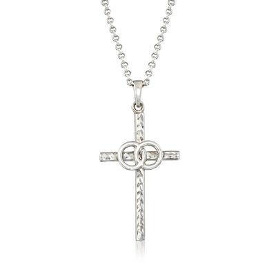Italian Sterling Silver Cross Necklace, , default
