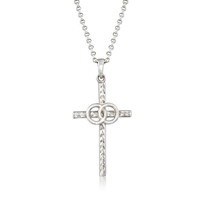 Italian Sterling Silver Cross Necklace, , default