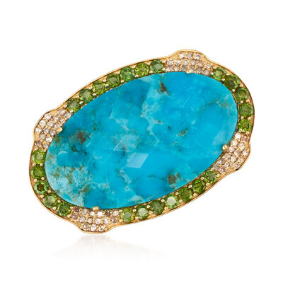 Stabilized Turquoise, 1.00 ct. t.w. Tourmaline and .50 ct. t.w. Diamond Pin in 18kt Gold Over Sterling, , default