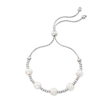 7-7.5mm Cultured Freshwater Pearl Station Bolo Bracelet in Sterling Silver, , default