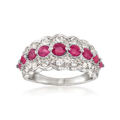 1.71 ct. t.w. Ruby and .80 ct. t.w. White Topaz Ring in Sterling Silver