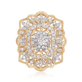 1.00 ct. t.w. Diamond Illusion Openwork Ring in 14kt Yellow Gold, , default
