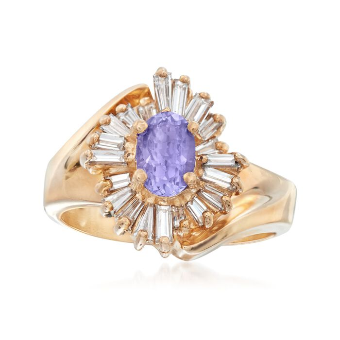 C. 1990 Vintage .80 Carat Tanzanite and .50 ct. t.w. Diamond Ring in 14kt Yellow Gold. Size 5, , default