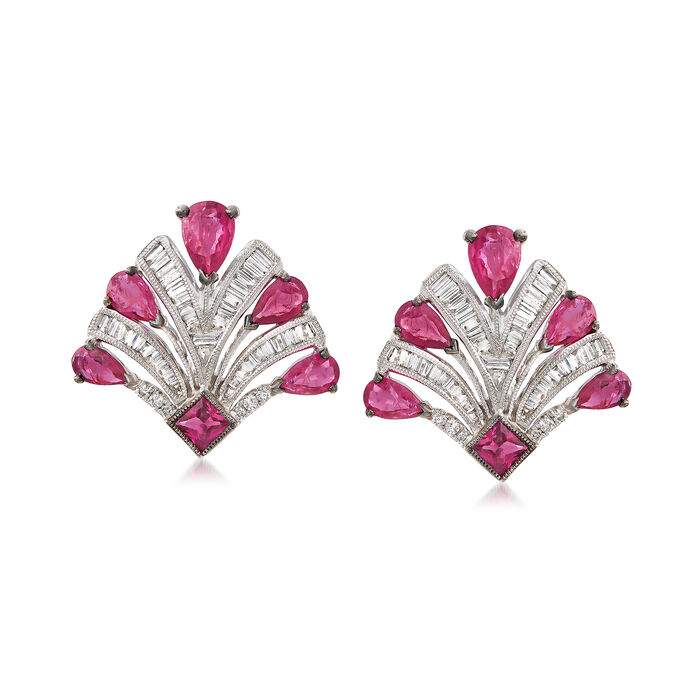 2.50 ct. t.w. Ruby and .65 ct. t.w. Diamond Earrings in 18kt White Gold, , default