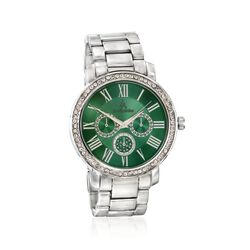 Louis Arden Women's 42mm Silvertone Watch With Swarovski Crystal - Green Dial, , default