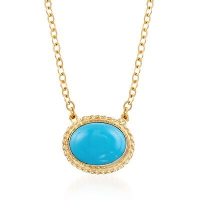 Oval Sleeping Beauty Turquoise Roped Frame Necklace in 14kt Yellow Gold, , default