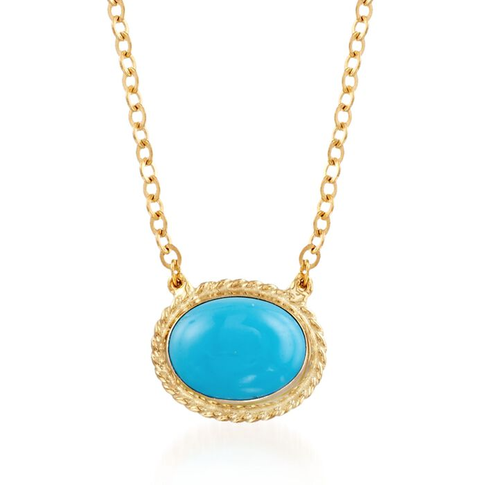 """Oval Sleeping Beauty Turquoise Roped Frame Necklace in 14kt Yellow Gold. 18"""", , default"""