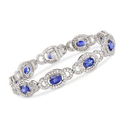 8.00 ct. t.w. Tanzanite and 2.00 ct. t.w. Diamond Bracelet in 14kt White Gold, , default