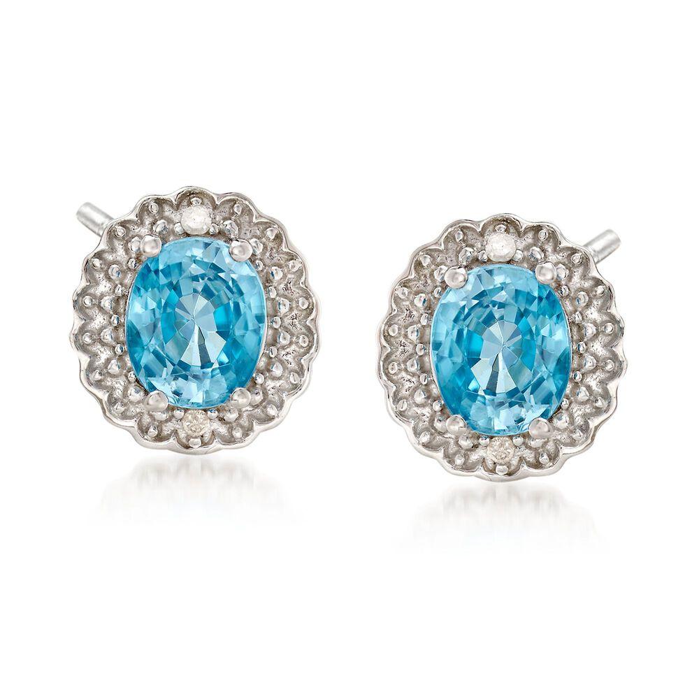T W Blue Zircon Earrings With Diamond Accents In Sterling Silver Default