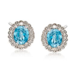 1.60 ct. t.w. Blue Zircon Earrings With Diamond Accents in Sterling Silver, , default