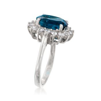 5.40 Carat London Blue Topaz and 1.10 ct. t.w. White Topaz Ring in Sterling Silver, , default
