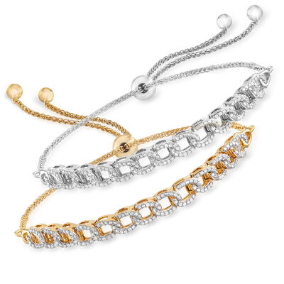 1.00 ct. t.w. Diamond Jewelry Set: Two Chain-Link Bolo Bracelets in Sterling Silver and 18kt Gold Over Sterling