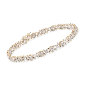 1.00 ct. t.w. Pave Diamond XO Bracelet in 14kt Yellow Gold, , default