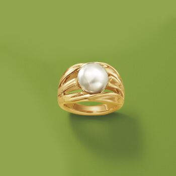 10.5-11mm Cultured Pearl Twisted Multi-Row Ring in 14kt Gold Over Sterling, , default