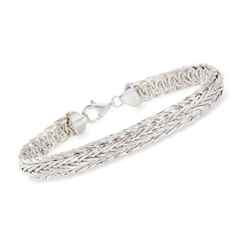 Sterling Silver Large Wheat-Link Bracelet, , default