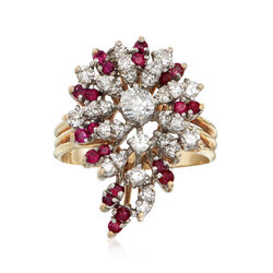 C. 1970 Vintage 1.25 ct. t.w. Diamond and 1.00 ct. t.w. Ruby Cluster Ring in 14kt Yellow Gold. Size 10.5, , default