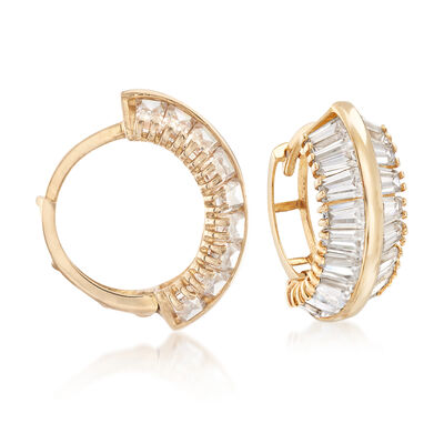 2.50 ct. t.w. Tapered Baguette CZ Hoop Earrings in 14kt Yellow Gold, , default