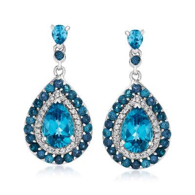 4.86 ct. t.w. Multi-Gemstone Halo Drop Earrings in Sterling Silver