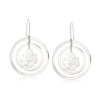 Sterling Silver Single Initial Open-Space Drop Earrings, , default