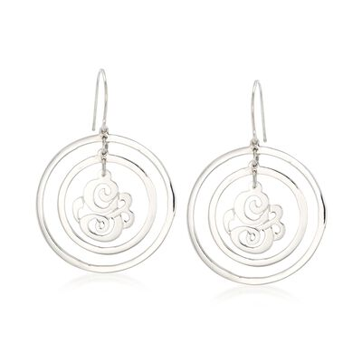 Sterling Silver Single Initial Open-Space Drop Earrings, , default