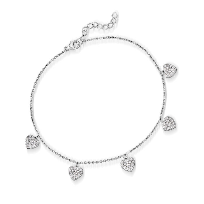 """.55 ct. t.w. CZ Heart Anklet in Sterling Silver. 9"""""""