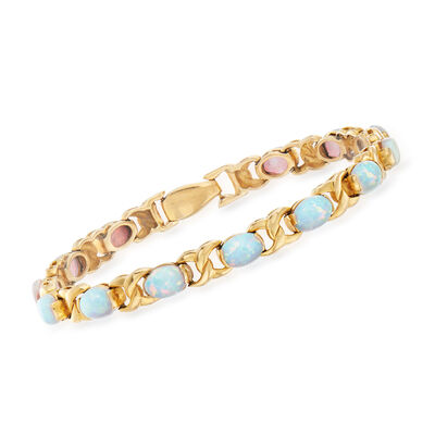C. 1960 Vintage Opal Bracelet in 14kt Yellow Gold