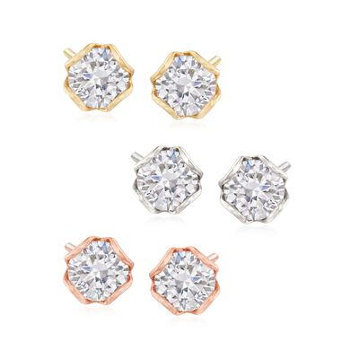 12.00 ct. t.w. CZ Jewelry Set: Three Pairs of Stud Earrings in Tri-Colored Sterling Silver, , default