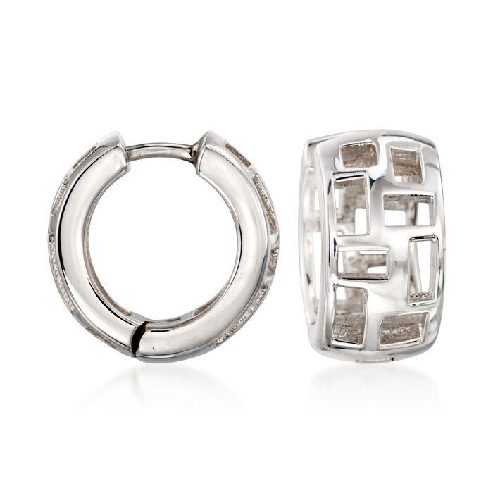 """Zina Sterling Silver """"Windows"""" Huggie Hoop Earrings. 1/2"""""""