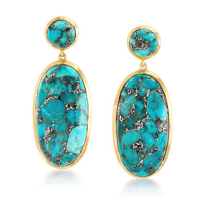 Mosaic Turquoise Drop Earrings in 18kt Gold Over Sterling , , default
