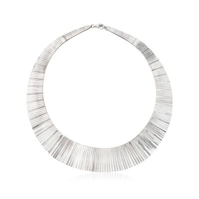 Italian Sterling Silver Diamond-Cut Cleopatra Necklace, , default