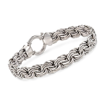 Sterling Silver Flat Rosette-Link Bracelet, , default