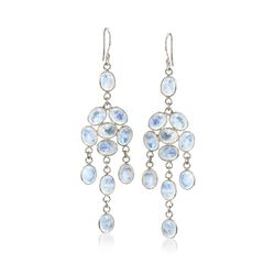 Moonstone Chandelier Drop Earrings in Sterling Silver, , default