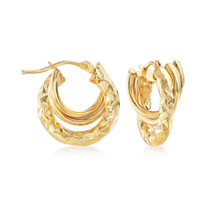 Italian 14kt Yellow Gold Triple Huggie Hoop Earrings, , default