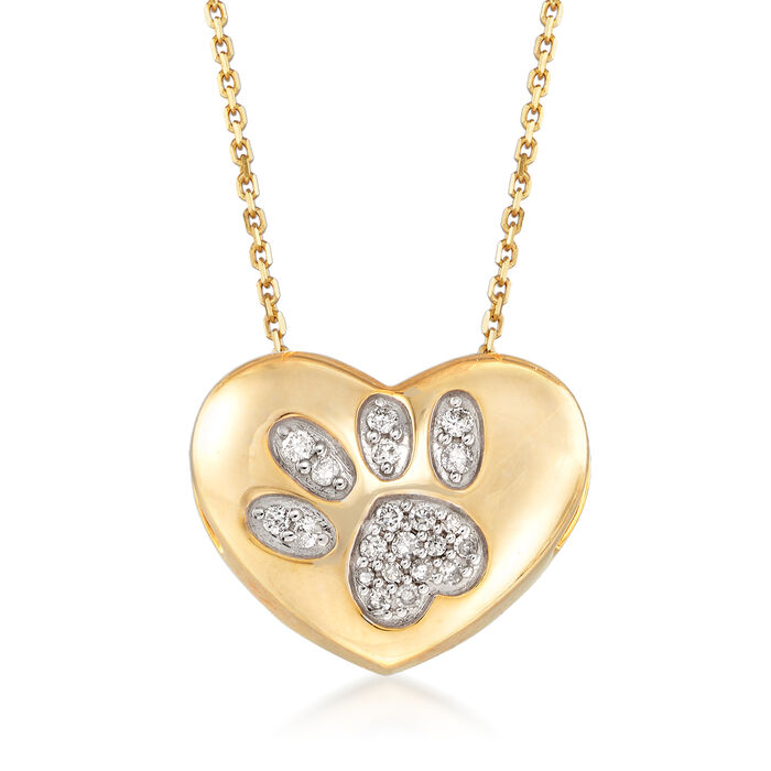 .15 ct. t.w. Diamond Paw Print Heart Pendant Necklace in 18kt Gold Over Sterling