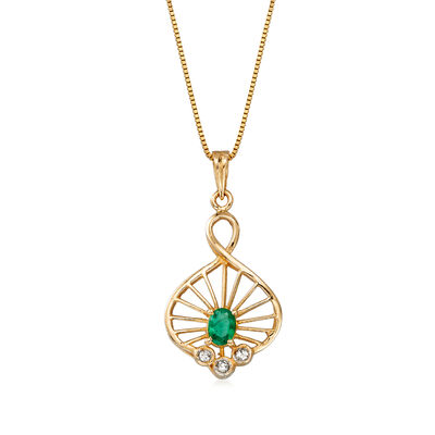 C. 1990 Vintage .20 Carat Emerald Pendant Necklace with Diamond Accents in 14kt Yellow Gold, , default