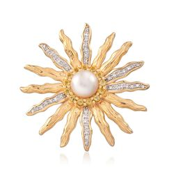 7-7.5mm Cultured Button Pearl Sun Pin Pendant With Citrines and Diamonds in 18kt Gold Over Sterling, , default