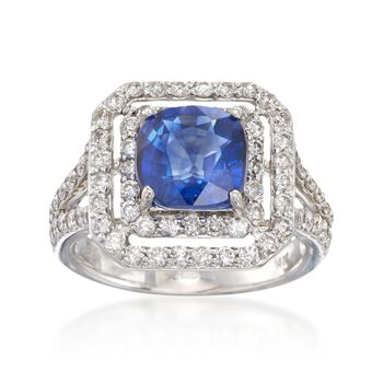 2.90 Carat Sapphire and 1.20 ct. t.w. Diamond Frame Ring in 14kt White Gold, , default