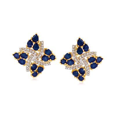 4.30 ct. t.w. Sapphire and .25 ct. t.w. White Zircon Pinwheel Stud Earrings in 18kt Gold Over Sterling