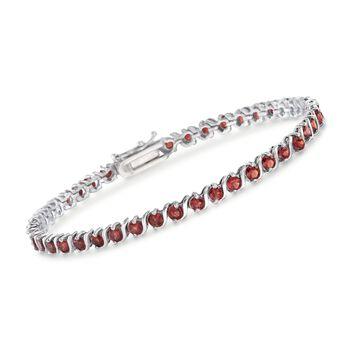 """5.75 ct. t.w. Garnet Tennis Bracelet in Sterling Silver. 7.25"""", , default"""