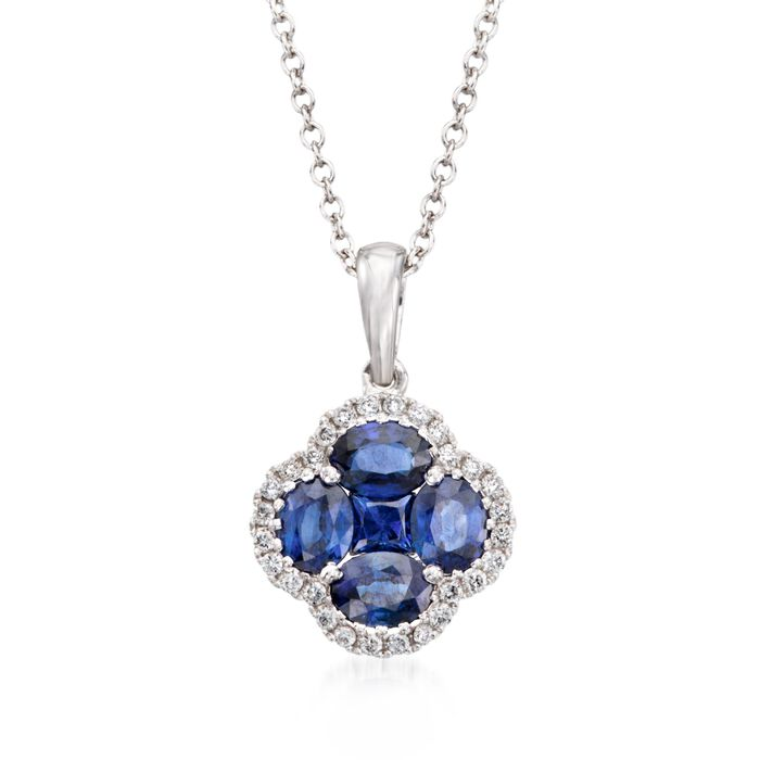 """Gregg Ruth 1.43 ct. t.w. Sapphire and .14 ct. t.w. Diamond Clover Pendant Necklace in 18kt White Gold. 18"""", , default"""