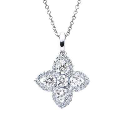 .46 ct. t.w. Diamond Flower Pendant Necklace in 18kt White Gold