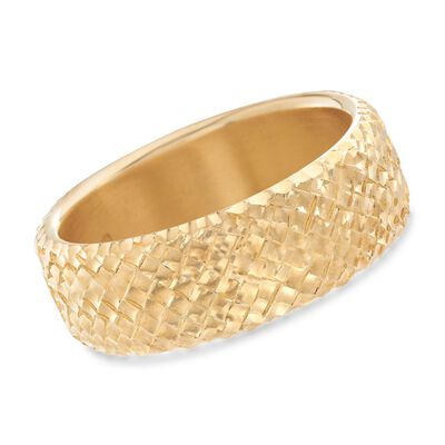 Italian Andiamo 14kt Yellow Gold Basketweave Bangle Bracelet, , default
