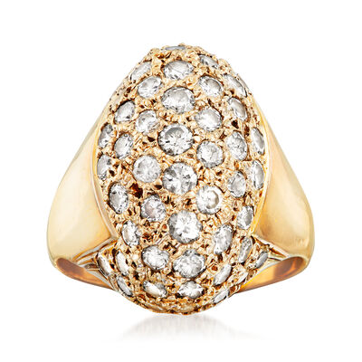 C. 1980 Vintage 8.00 ct. t.w. Pave Diamond Dome Ring in 18kt Yellow Gold, , default