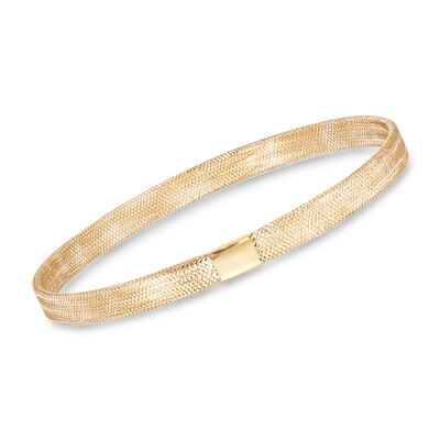 Italian 14kt Yellow Gold Mesh Stretch Bracelet, , default