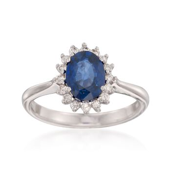 1.60 Carat Sapphire and .25 ct. t.w. Diamond Ring in 14kt White Gold, , default