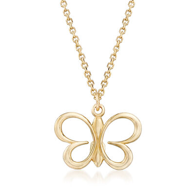 Italian 14kt Yellow Gold Butterfly Pendant Necklace, , default